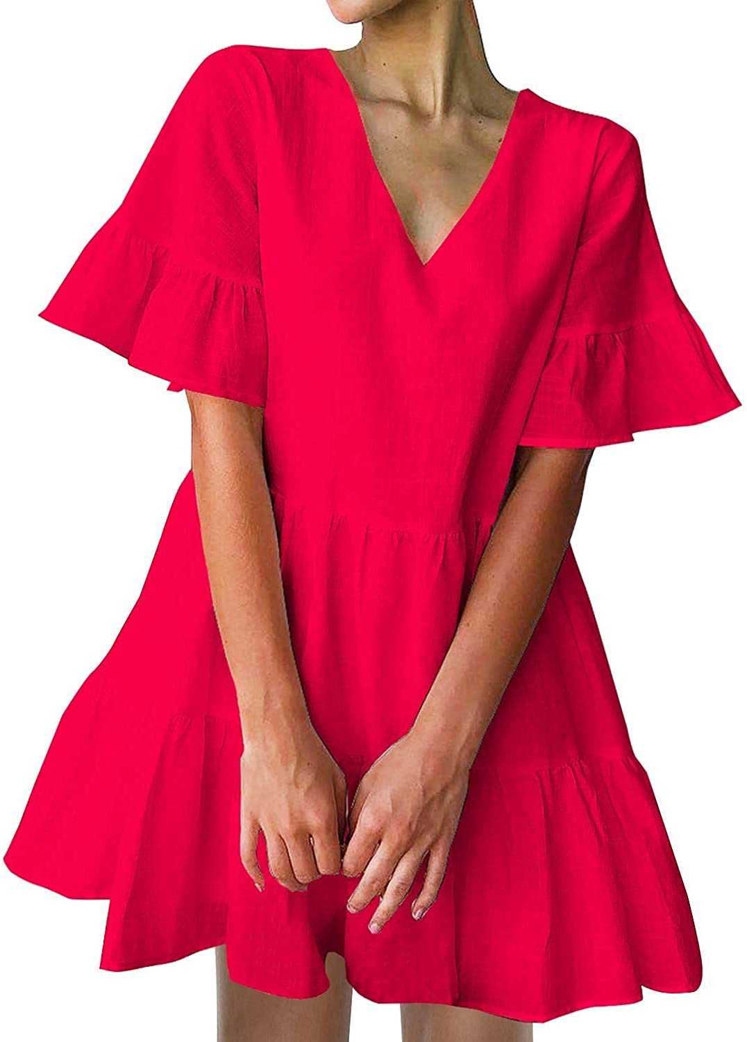 Women's Cute Shift Dress with Pockets Fully Lined Bell Sleeve Ruffle Hem V Neck Loose Swing Tunic Mini Dress