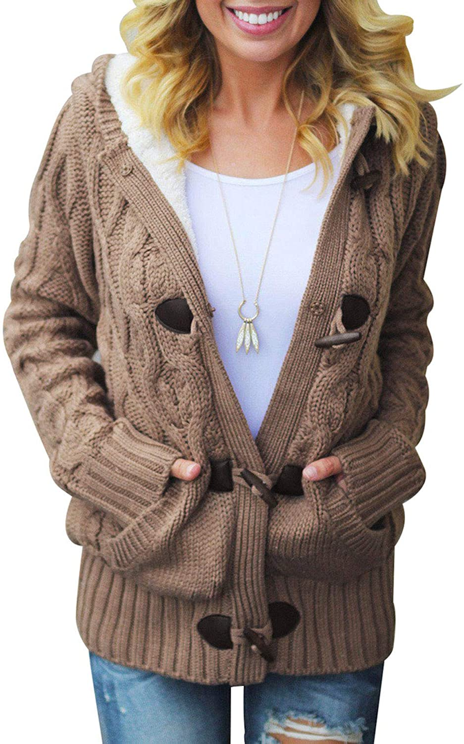 Women Hooded Knit Cardigans Button Cable Sweater Coat