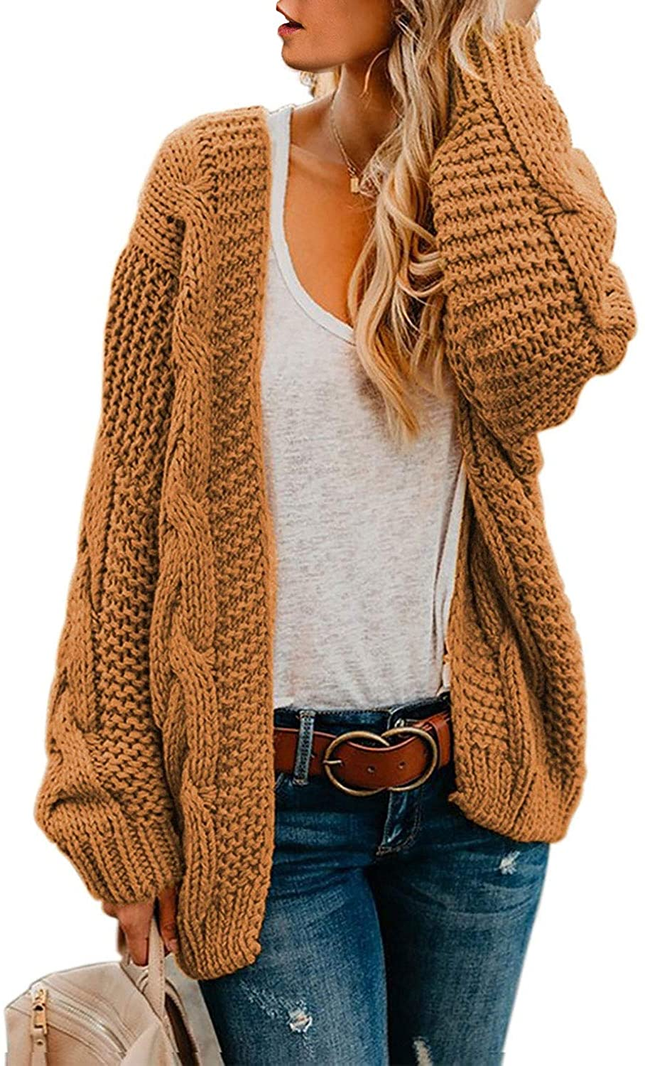 Long Sleeve Chunky Knit Cardigan Sweaters Loose Outwear Coat