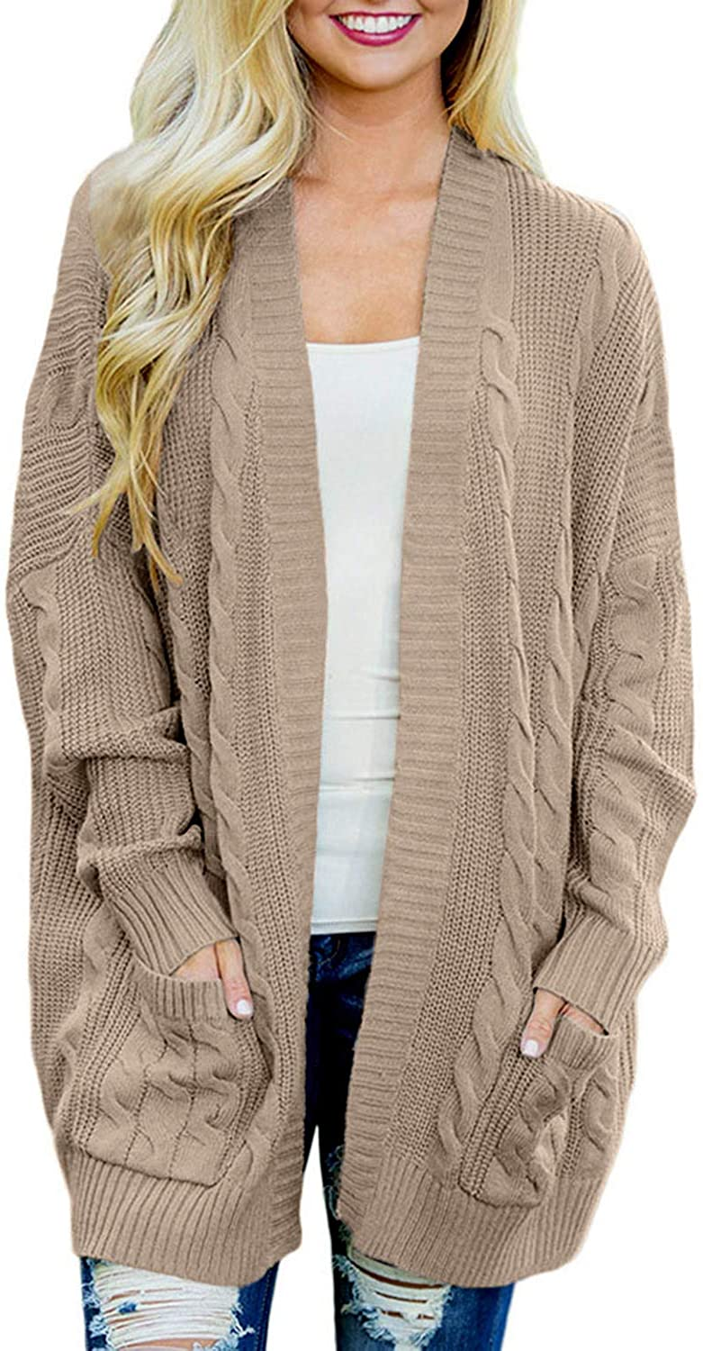 Women's Oversized Open Front Long Sleeve Cardigan Sweaters Cable Knit Boyfriend Loose Outwear with Pockets