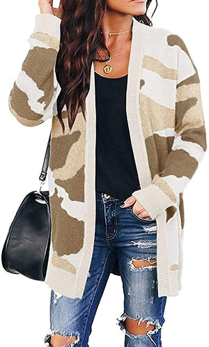Women Leopard Cardigan Long Open Front Sweaters Loose Knit Coat Draped Jumper with Pockets