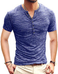 Mens Casual Slim Fit Basic Henley Short Sleeve Fashion Summer T-Shirt