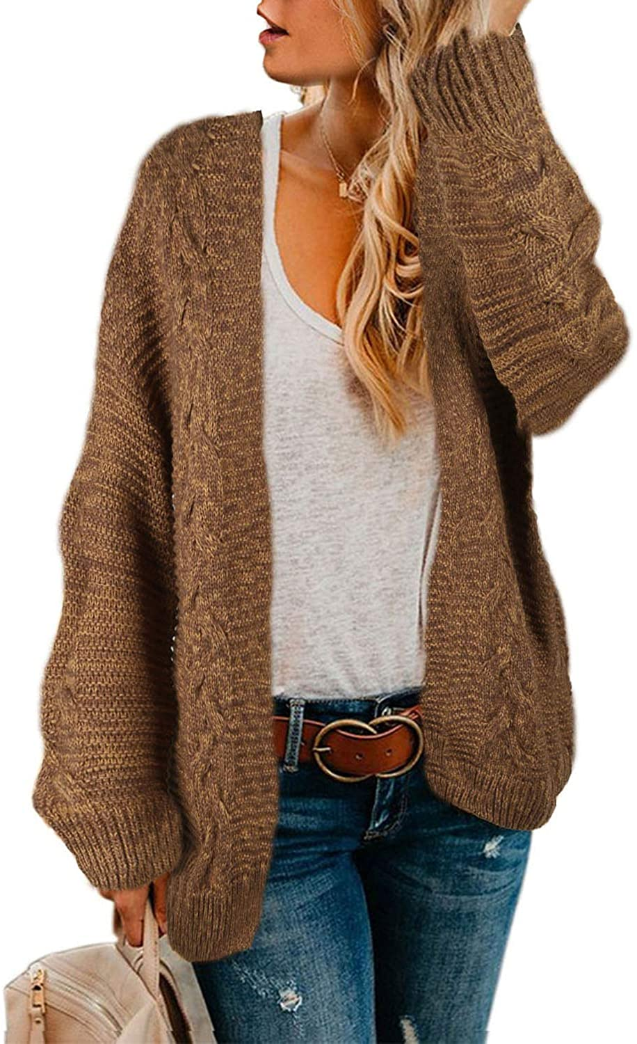 Women Open Front Long Sleeve Chunky Knit Cardigan Sweaters Loose Outwear Coat