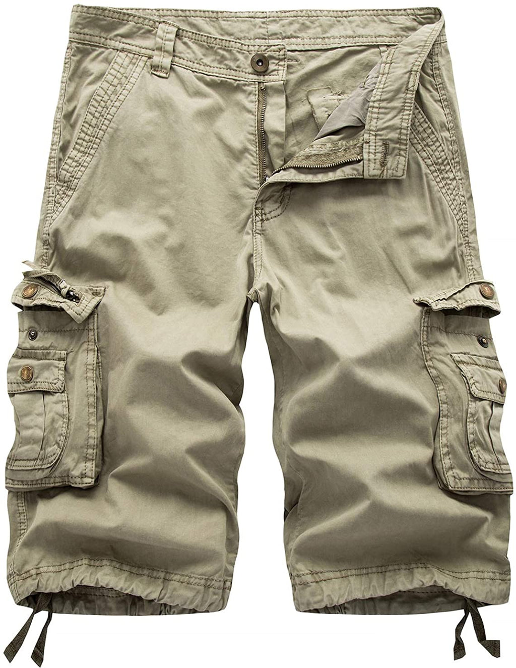 Men's Casual Loose Fit Multi-Pockets Military Cargo Shorts