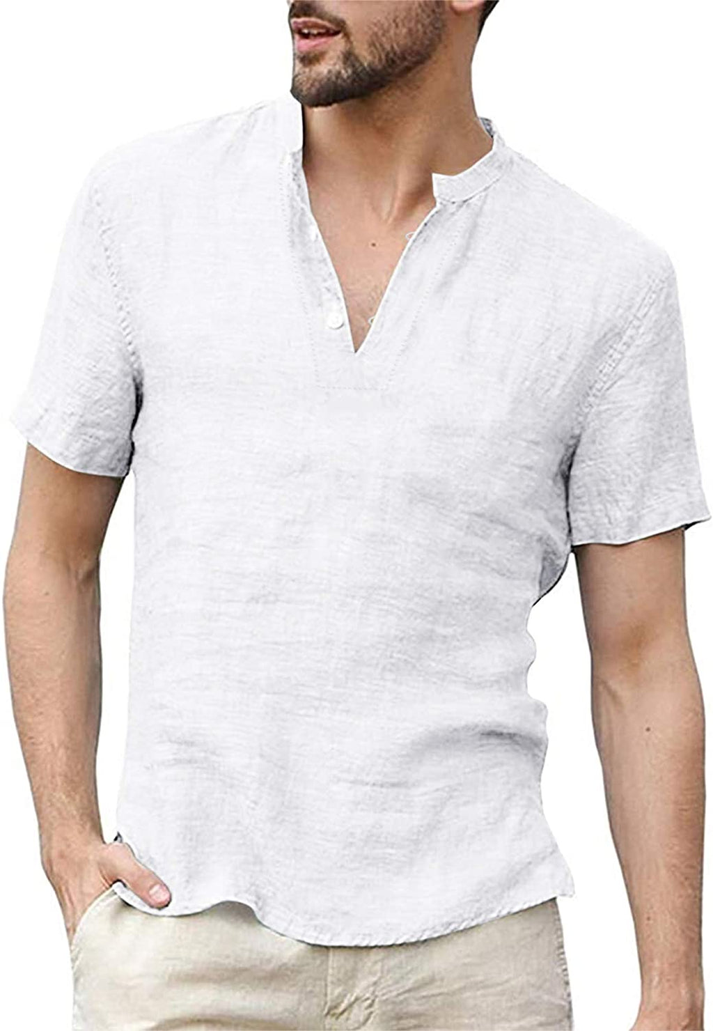 Mens Cotton Linen Henley Shirts Short Sleeve Loose Summer Beach Yoga Casual Shirt Tops