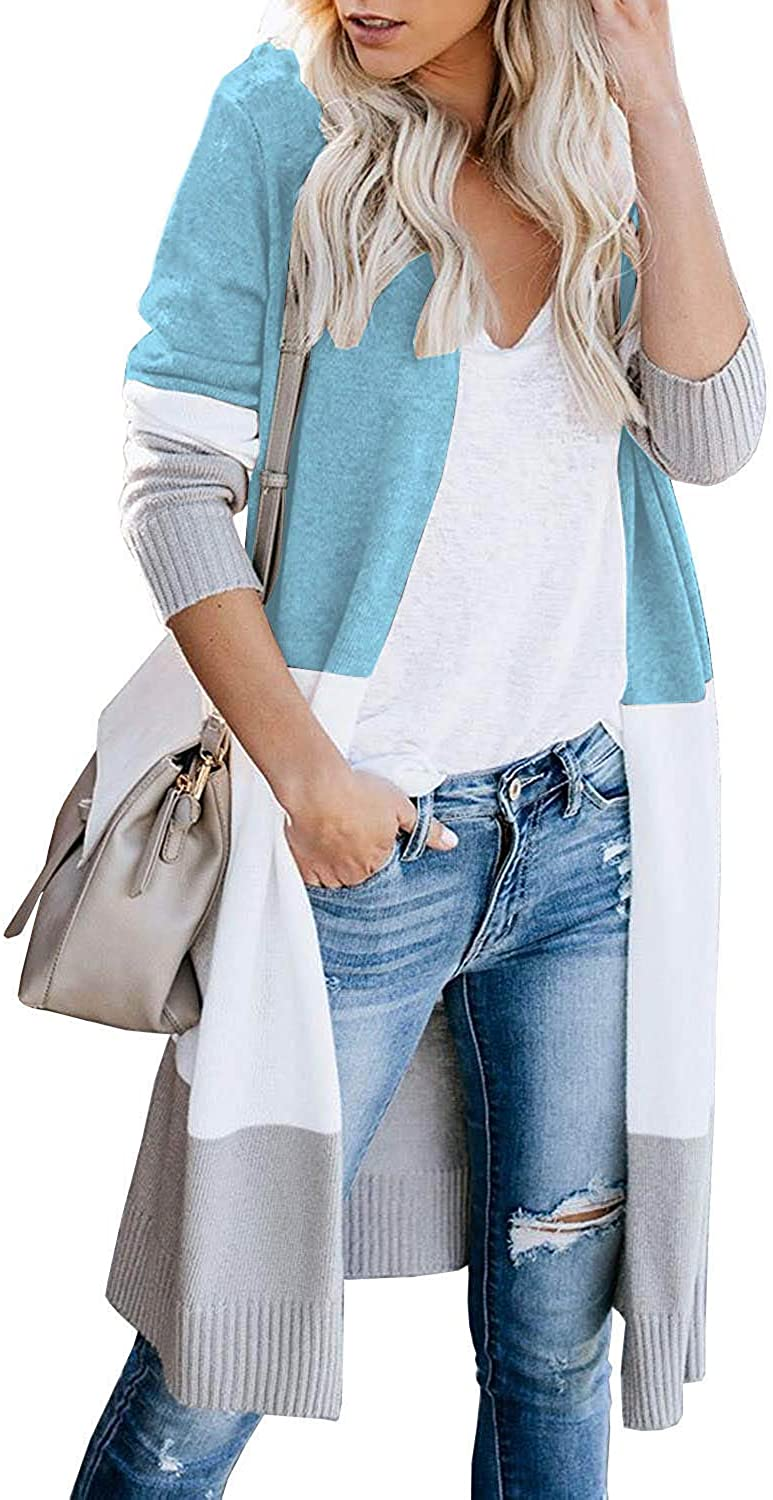 Womens Boho Open Front Cardigan Colorblock Long Sleeve Loose Knit Sweaters Coat