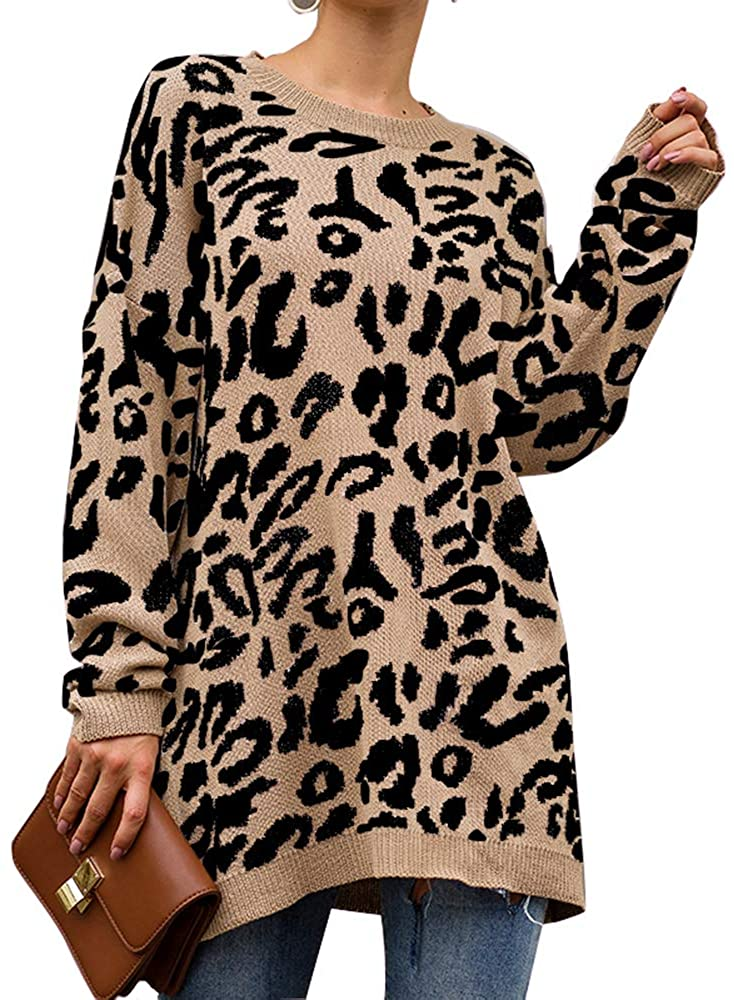 Women's Casual Leopard Print Long Sleeve Crew Neck Oversized Pullover Knit Sweaters Tops