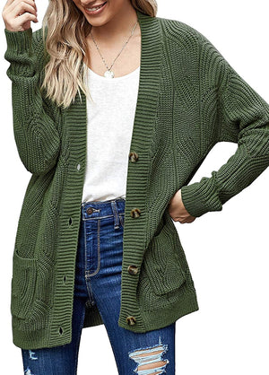 Womens Long Sleeve Open Front Buttons Cable Knit Pocket Sweater Cardigan