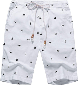 Men's Linen Casual Classic Fit Short Summer Beach Shorts