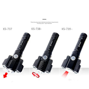 Real 3 Headed Monster -Three Heads 1000 Lumen LED Rechargeable Torchlight Waterproof Tactical Flashlight