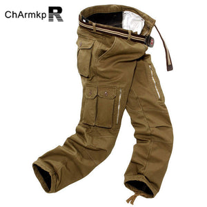 Mens Thick Loose Winter Polar Fleece Cargo Pants - Army Green 32