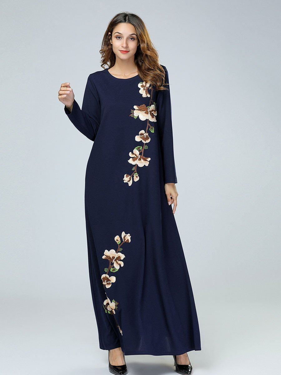 Navy Blue Embroidered Long Sleeve Dress