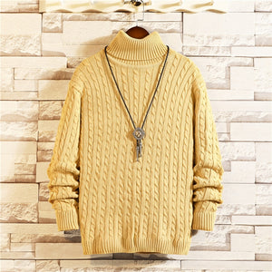 2020 New Men Bottoming Sweater Solid Color Large Size High Neck Long Sleeve Hand Knitted Pullovers Soft comfortable Winter