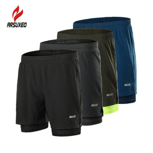Men Running Shorts Reflective Quick Dry Compression Jogging Gym Fitness Marathon Sport Shorts with Zipper Pocket