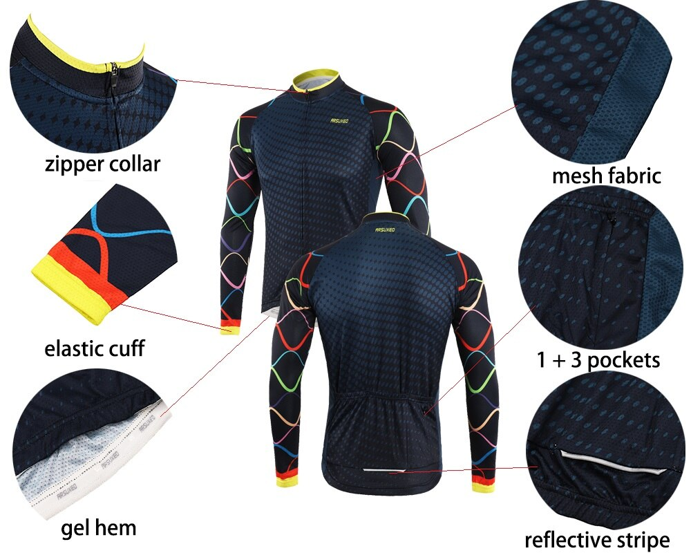 Bluesea Men's Cycling Jersey Long Sleeve MTB  jersey  Bike Shirt Spring Summer Bicycle  Clothing  Ciclismo Quick Dry Z9XZ