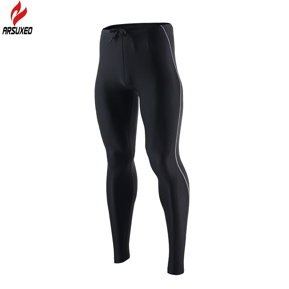 Bluesea Men's Spring Autumn Running Tights Compression Running Pants Elastic Sports Fitness Workout GYM Pants Reflective 9013