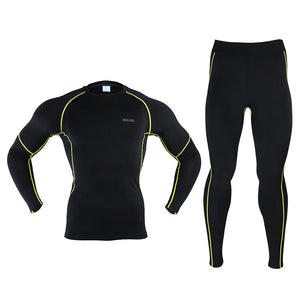 Bluesea Men's Winter Thermal Warm Up Fleece Compression Cycling  Base Layers Shirts Tights Running Sets Jersey  Sports Suits N56