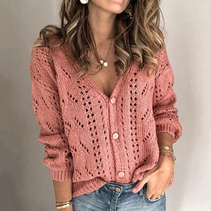 Autumn Elegant Long Sleeve Knitted Sweater Winter Casual Solid Button Women Tops Sexy Hollow Out V Neck Pullovers Sweater Jumper