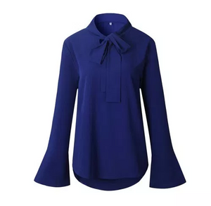 Long Flare Sleeve Blouse Temperament Frenulum Ladies Chiffon Blouses Irregular Solid Colour Top(BUY 2 GET FREE SHIPPING)