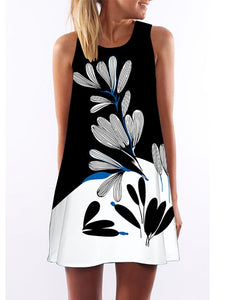 Black Floral Printed Elegant Casual Mini Dress