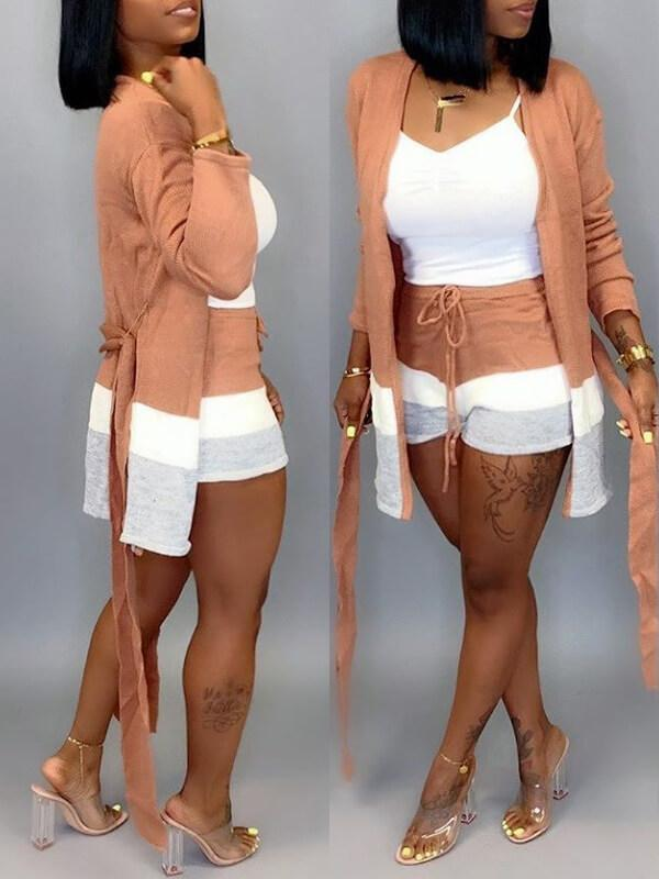 Three-Tone Cardigan & Shorts Set