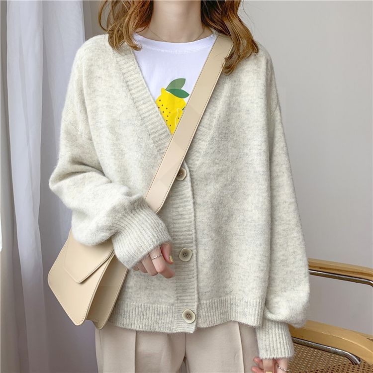 2020 Autumn Winter Women Sweater Cardigans Oversize V neck Knit Cardigans Girls Outwear Korean Chic Tops Suete Mujer Poncho