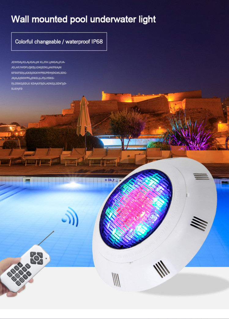Submersible Led Pool Lights Remote Control (rf) IP68 Waterproof Wall-mounted Underwater Lights Color Changing RGB 24W AC DC12V