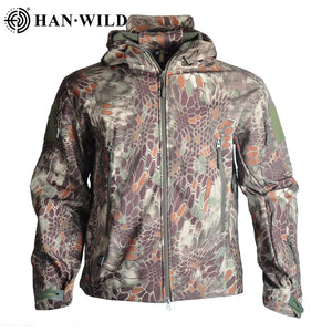 Hiking Jackets Shark Skin Soft Shell Clothes Tactical Jacket Mens Windbreaker Flight Pilot Hood Military Fleece Field Jacket