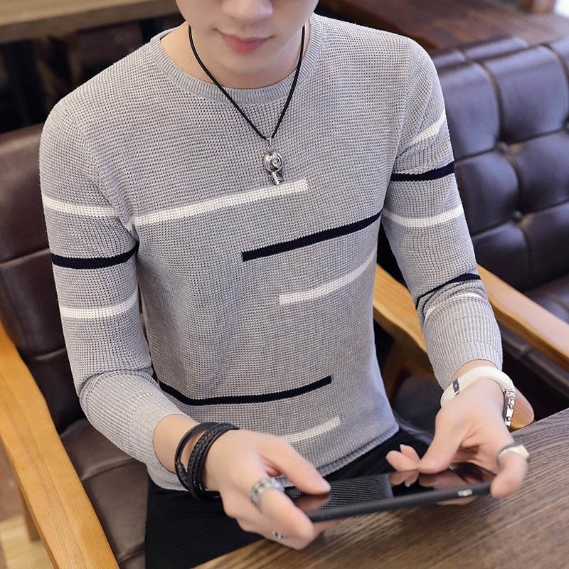 Grey Sweaters And Pullovers Men Long Sleeve Knitted Sweater High Quality Winter Pullovers Homme Warm Navy Coat 3xl Newest