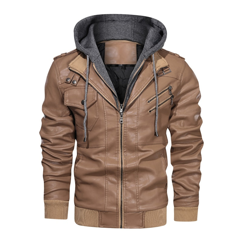 New Men's Leather Jackets Autumn Casual Motorcycle PU Jacket Biker Leather Coats Brand Clothing EU Size SA722