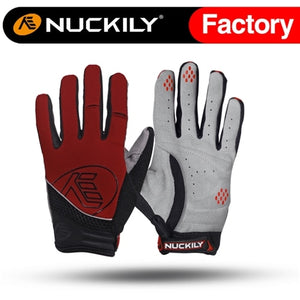 NUCKILY Autumn Foam Padding Full Finger Cycling Gloves With Silicone Gripper Finger Tips  PD04