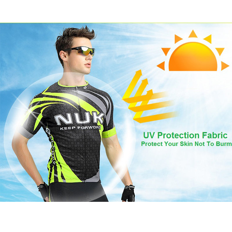 NUCKILY Summer Men 's Cycling Jersey Full Zip Sublimation Fast Wicking Bicycle Short Sleeve Shirt MA014