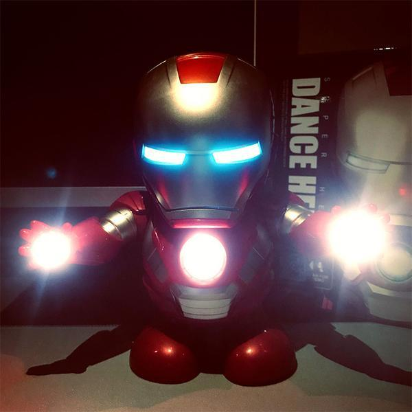 (Buy 2 Free Shipping)Marvel Iron man Dancing light robot