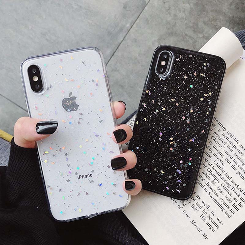 bluesea Glitter Phone Case For iPhone 11 Case 11 Pro XS Max XR X 6 6s 7 8 Plus Love Heart Star Sequins Soft Bling Clear Cover Capa