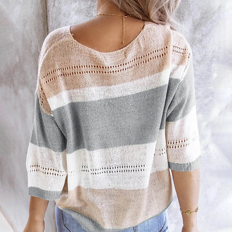 Women Autumn kintted sweater sexy V neck patchwork Striped pullovers female half sleeve hollow out knitwear d