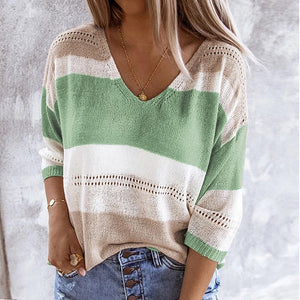 Women'S Spring Autumn Casual Knitted Sweater Fashion Striped Patchwork Three-Quarter Sleeve Pullover Sexy Hollow Out V-Neck Tops