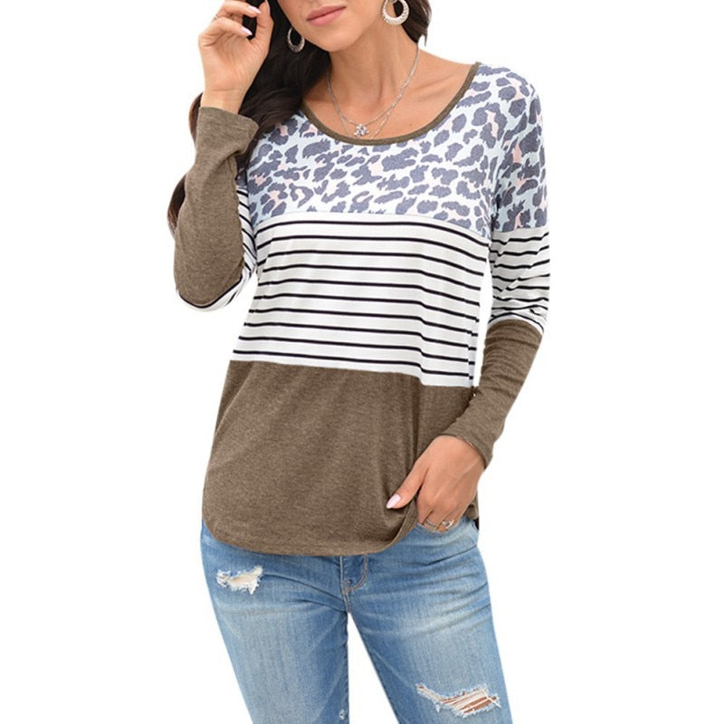Women T-Shirt Tops Female Casual Striped Stitching Leopard Print Long Sleeve