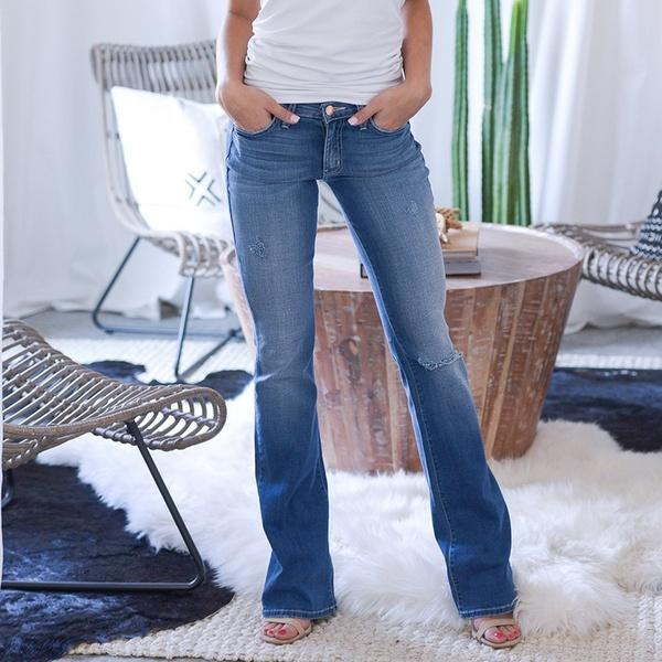 70s Stretch Hip Hugger Street Style Boot-cut Jeans
