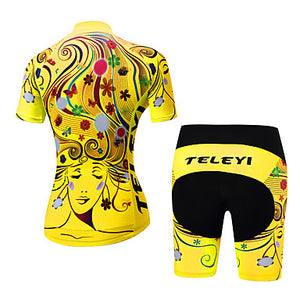 Women's Short Sleeve Cycling Jersey with Shorts Polyester Yellow Red Orange Floral Botanical Bike Clothing