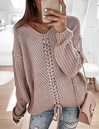 Women's Casual Knitted Solid Colored Long Sleeve Pullover Sweater Jumper