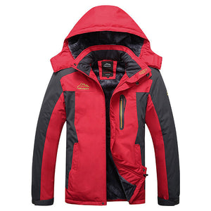Outdoor Waterproof Windproof Fleece Warm Big Size Jacket -  Red S
