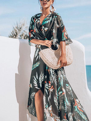 Chiffon Bikini Cover Up Sun Protected Maxi Dress
