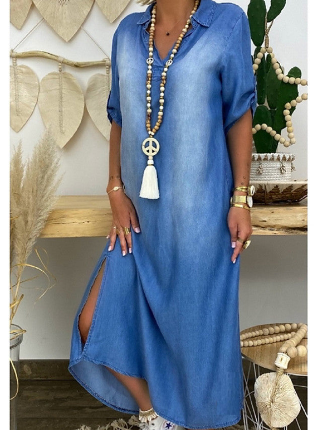 Women's Plus Size Denim Dress Maxi long Dress -