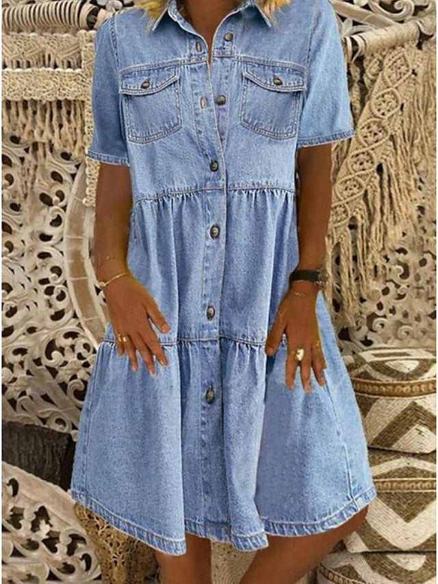 Women's Denim Shirt Dress Knee Length Dress