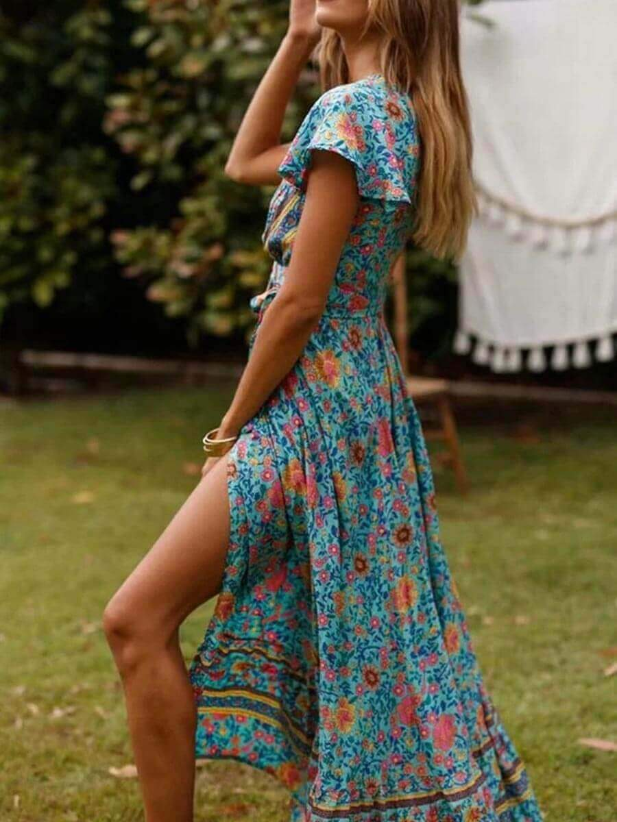 Short Sleeve Slit Print Boho Holiday Maxi Dress