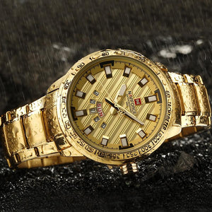 Stainless Steel Gold Quartz  Waterproof Watch