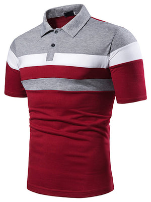 Men's Patchwork Polo Shirt Collar