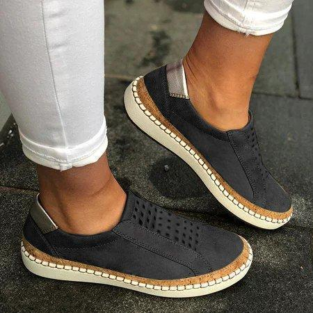 Hollow-Out Round Toe Casual Women Sneakers