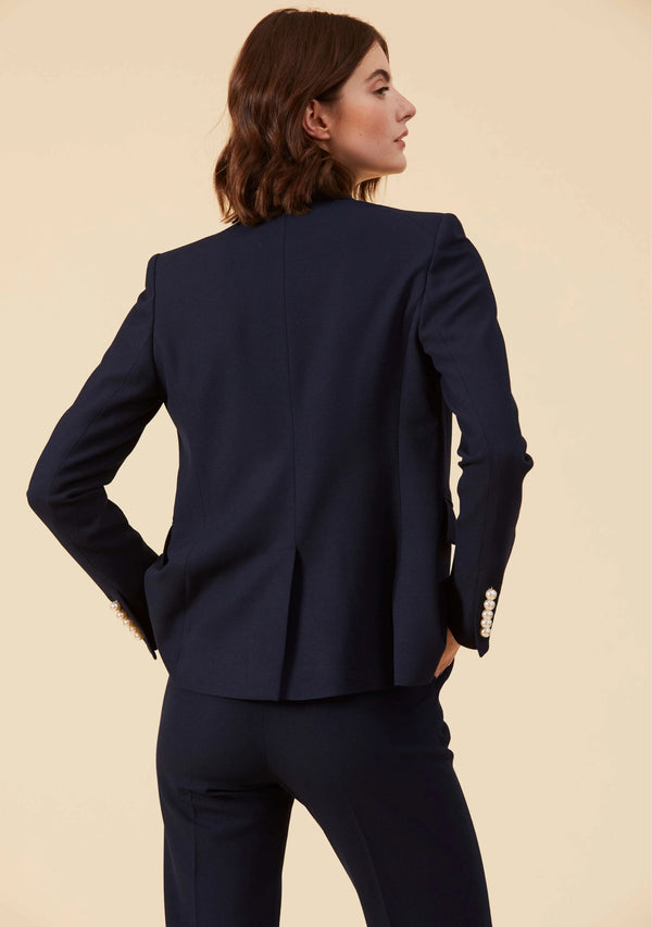 Camille Midnight Blue Blazer | Slim Fit Blazer Style Tailored Outwear For Ladies | Thisisher.Style
