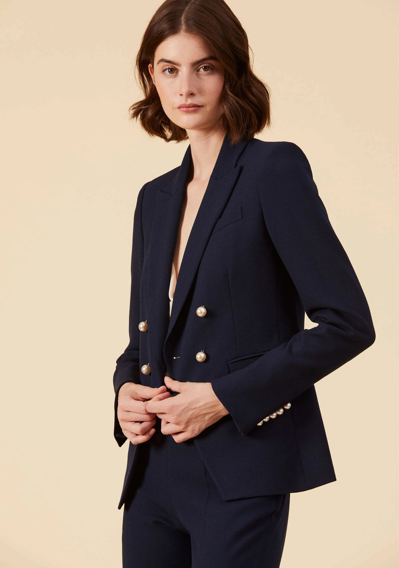 Camille Midnight Blue Blazer | Viscose Mix Style Blazers For Ladies | Thisisher.Style